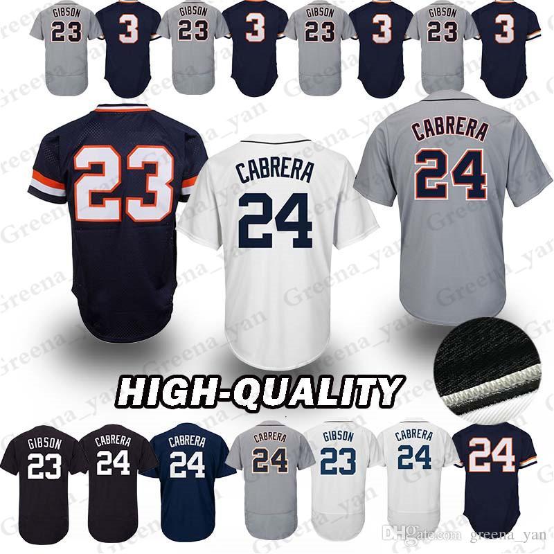 best website 777d8 a6f93 Detroit Tigers Baseball Jersey 23 Kirk Gibson 3 Alan Trammell 24 Miguel  Cabrera Baseball Jerseys t shirt Adult