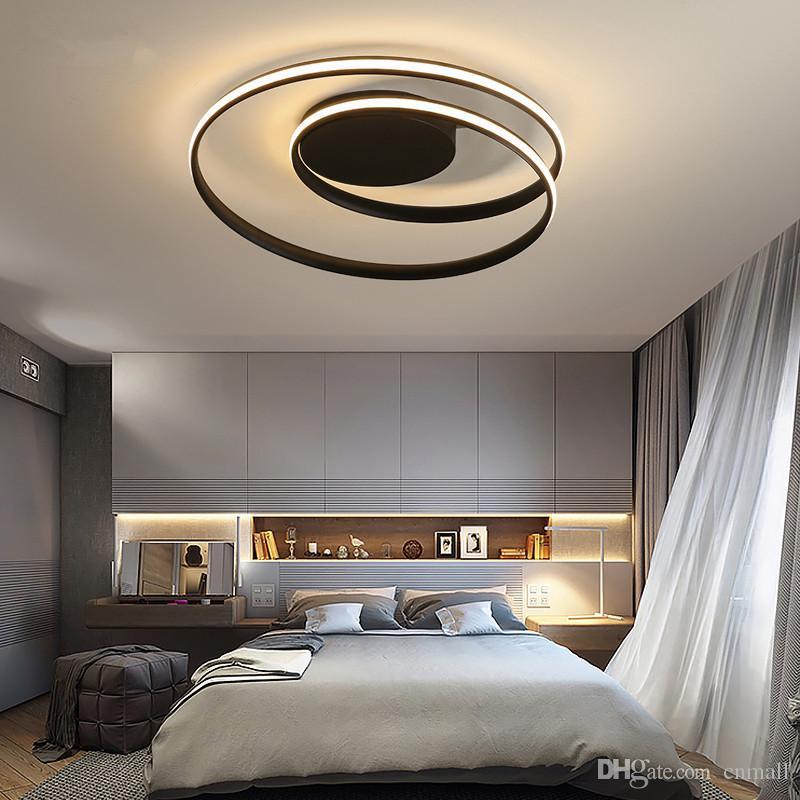 Lampadari moderni Lampada a LED per soggiorno Camera da letto Sala studio  Colore bianco nero montato luci montate Lampada Deco AC85-265V