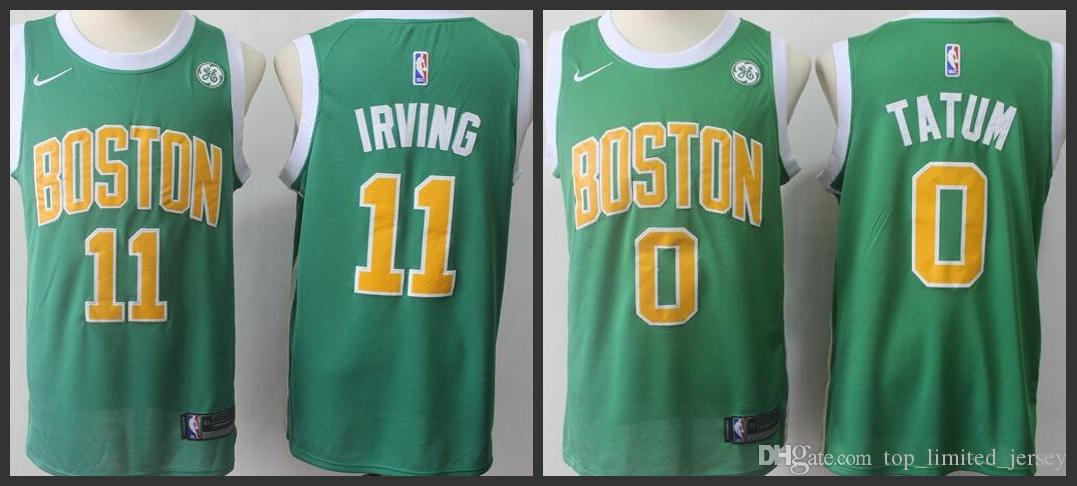 pretty nice 73456 135d7 Boston Men Celtic New playoff style Earned Edition Jersey #11 Kyrie Irving  0 Jayson Embroidery Jerseys