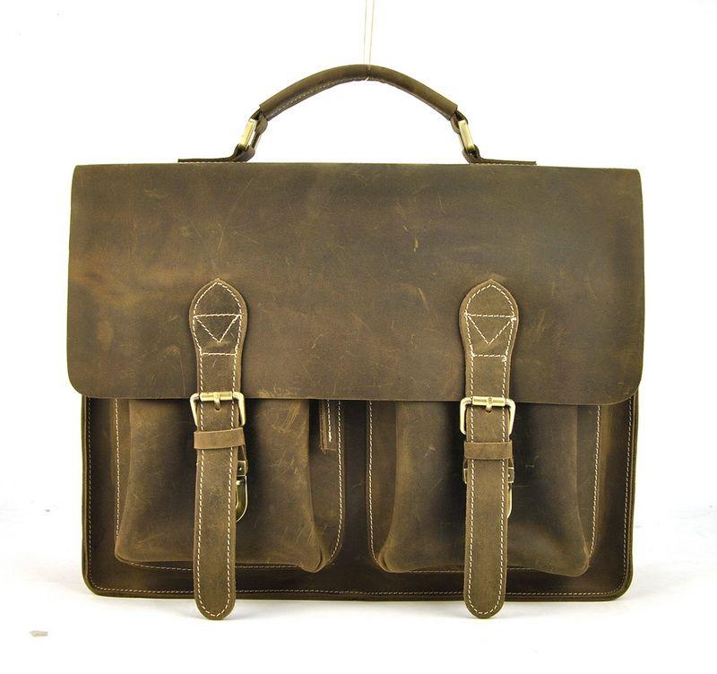 1bbbf3f413 Men Vintage Genuine Leather Briefcase Shoulder Bag Top Handle Laptop Bags  Messenger Retro Satchel Business Work Bag Classic Bags Brief Case Mens  Leather ...