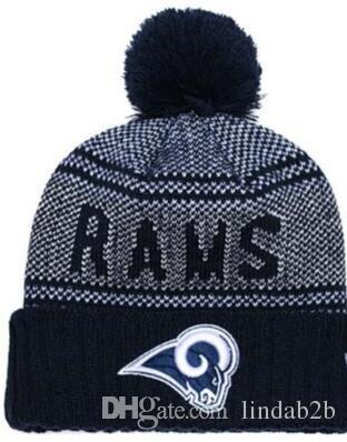 229f0975a 2019 Rams Beanie LA Sideline Cold Weather Graphite Official Revers Sport  Knit Hat All Team winter Warm Knitted Wool Skull Cap 1000