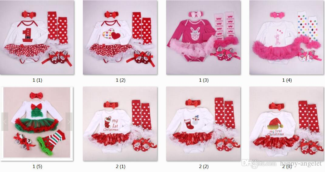 baby tutu rompers dress sets Christmas Rompers dress + ruffles leg warmer + cotton walking shoes + girl crochet headbands PP005