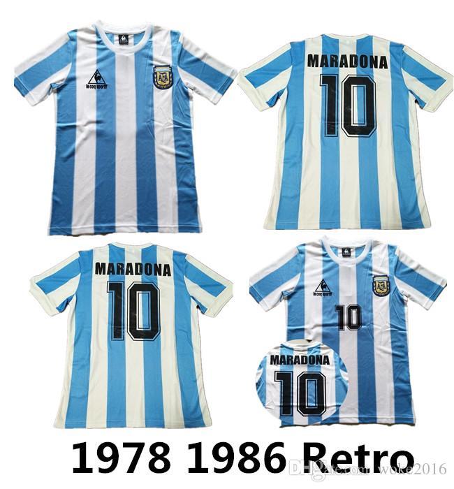 7350543af 2019 1986 Argentina Retro Soccer Jersey Maradona 86 Vintage Classic 1978  Retro Argentina Maradona 78 Football Shirts Maillot Camisetas De Futbol From  ...
