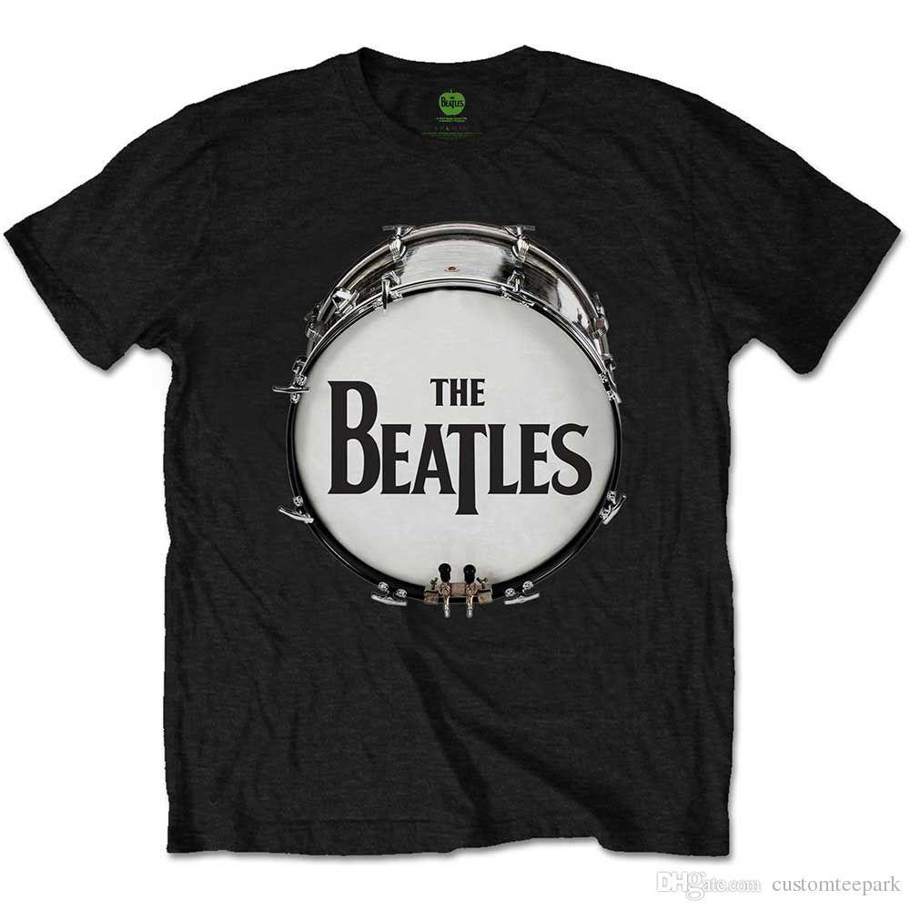 The Beatles Mens T-Shirt New Original Drum Skin 100% Black Cotton Sizes LG 2XL
