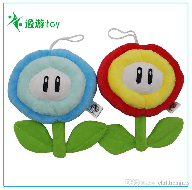 "2019 Top New 2 Styles 6.5"" 16CM Super Mario Bros Ice Fire Flower Plush Doll Pendant Anime Stuffed Gifts Soft Toys"