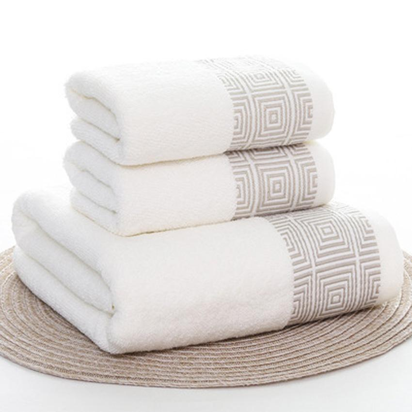 Towels Set Striped Soft 100 Cotton Bath Thick Shower Bathroom Home Spa Face Towel For Adults Toalla Serviette 3pcs Set Handtuch