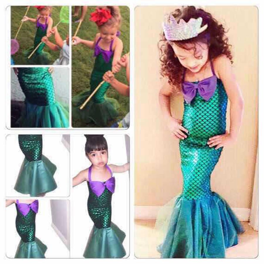 Mermaid Tail Princess Dress Girl Costume Outfit Playwear Birthday Party Cosplay Fish Scale Girl Bowknot Mermaid Dress 5pcs Lot Rra723