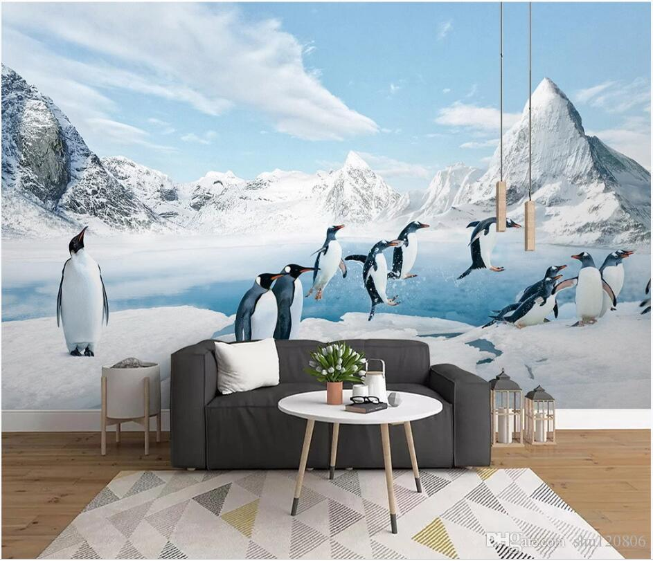 WDBH 3d wallpaper custom photo Antarktischer Pinguin Eis und Schneetiere malen Wohnkultur Wohnzimmer 3d wall murals wallpaper for walls 3 d