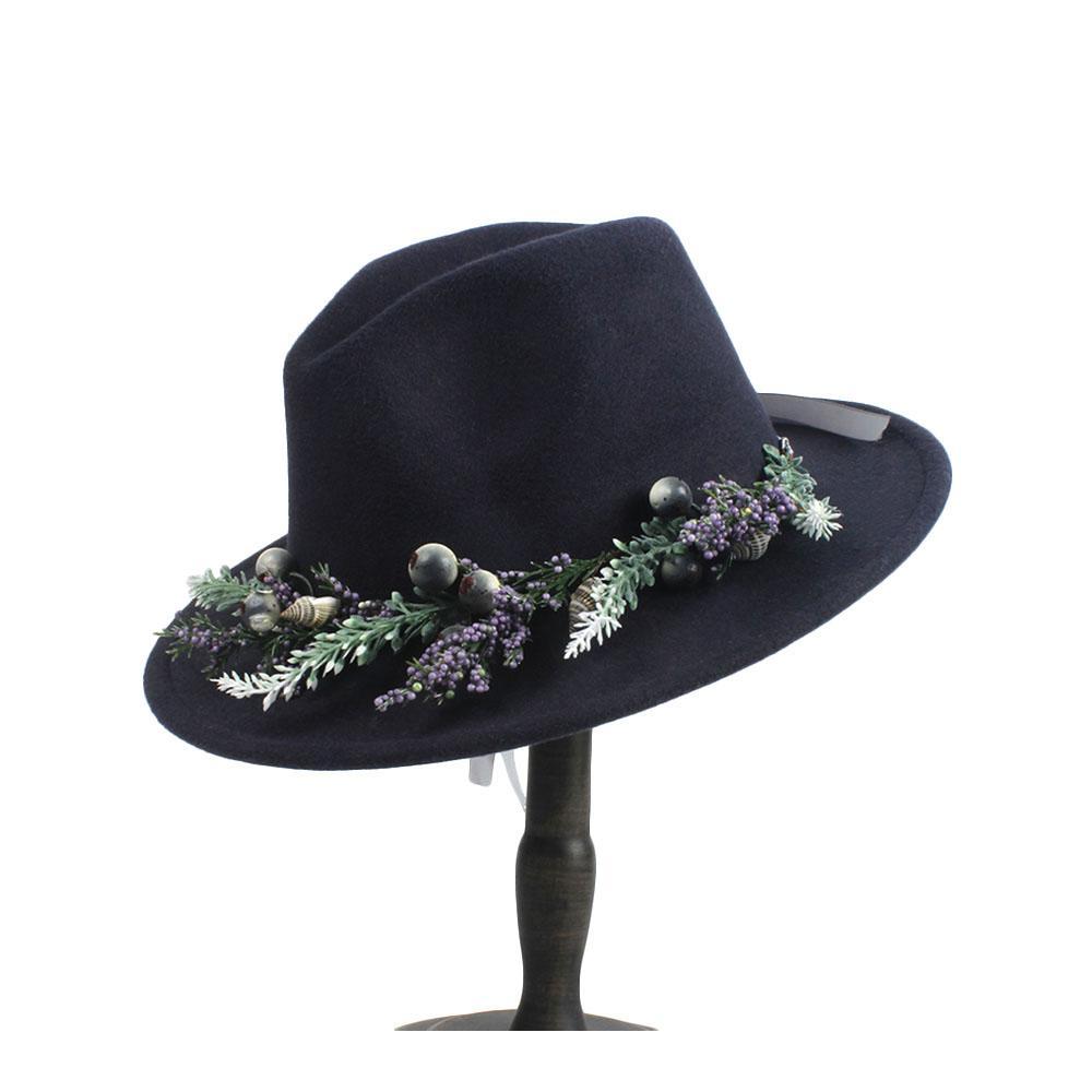 31b1270103ccc Compre 100% Lã Mulheres Fedora Aba Larga Chapéu Com Flor Da Moda Para  Senhora Elegante Outback Jazz Fascinator Chapéu 2 Tamanho 56 60 De  Melontwo