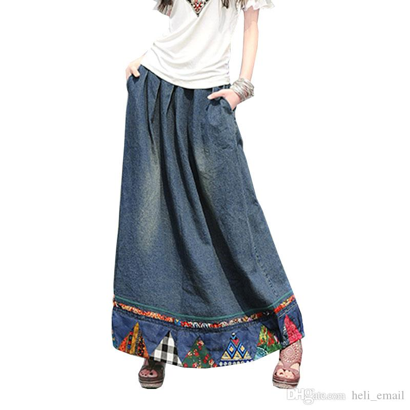 307f90aabb 2019 2019 Fashion Chinese Style Retro Vintage Long Maxi A Line Pleated  Floral Print Denim Jeans Women Patchwork Skirts Womens From Heli_email, ...