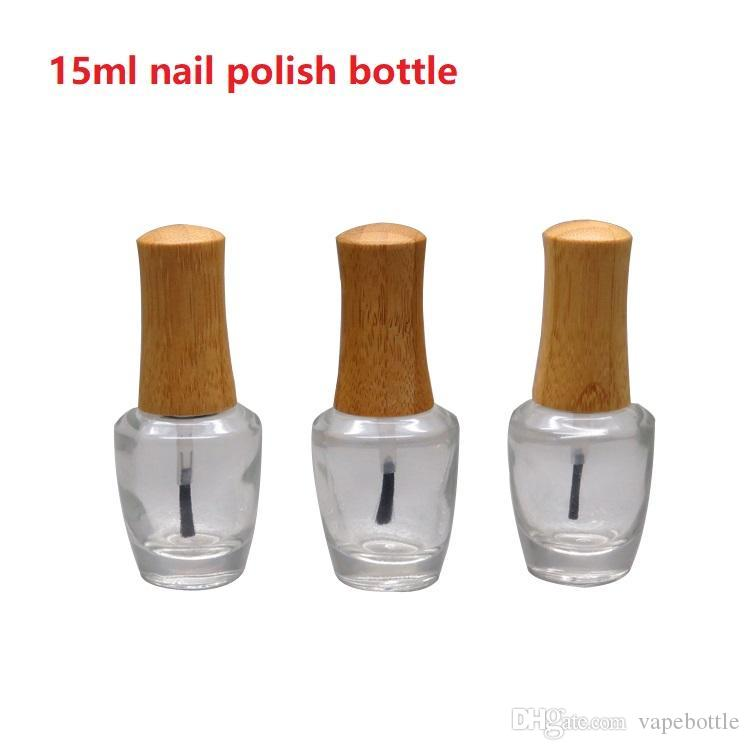 2019 15ml Empty Clear Glass Nail Polish Bottle With Bamboo Cap DIY ...