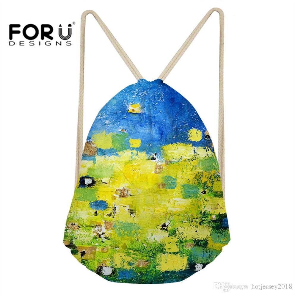 FORUDESIGNS Small Drawstring Bag Sport Gymsack Bag for Women Girls Running Outdoor Graffiti Printing Yoga Backpack Dance #214536
