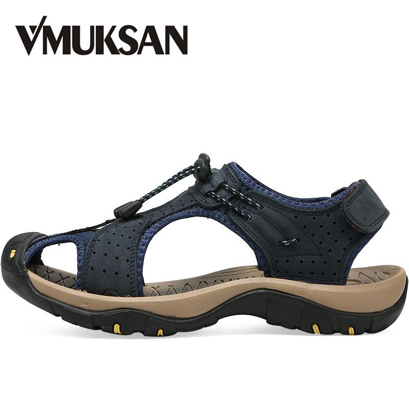 8ae3a4e2ce894 VMUKSAN 2019 New Summer Sandals Men Breathable High Quality Split Leather  Sandals Man Plus Size Fashion Casual Beach Shoes Mens Reef Sandals Gold  Shoes From ...