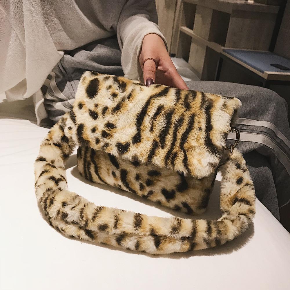 d7a09194a335 HISUELY Women Winter Faux Fur Leopard Print Shoulder Bag Fashion Handbag  Lady Female Party Small Girls Tote Bag Christmas Gift Laptop Messenger Bags  Purses ...