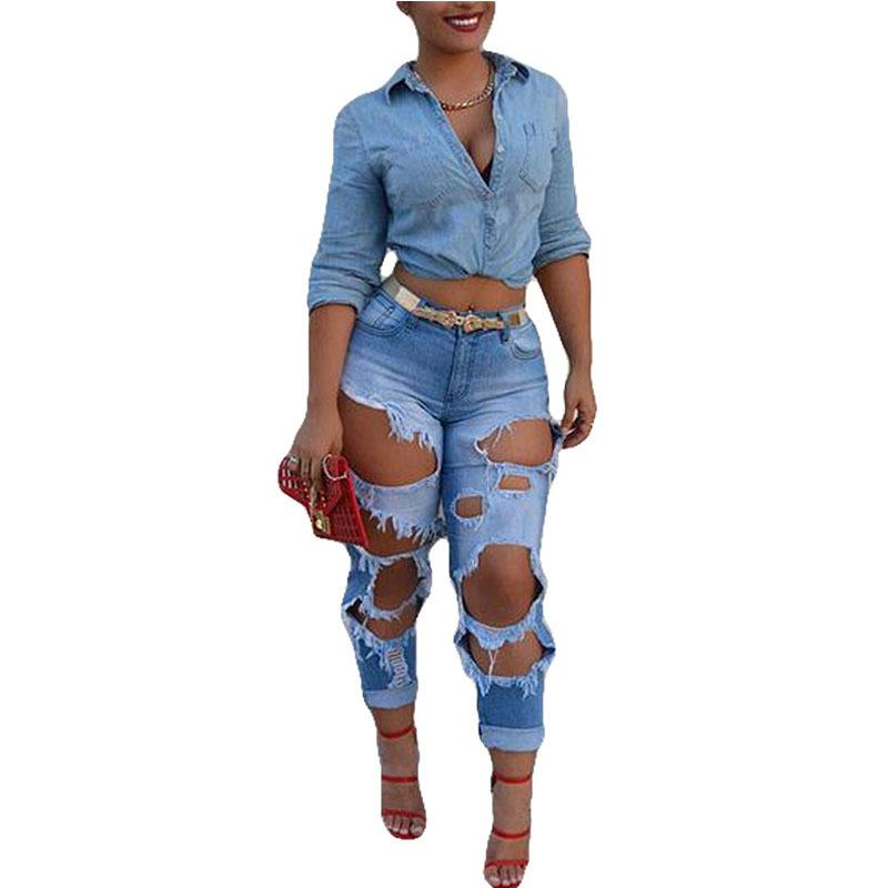 f17844f7a6 2019 Big Broken Holes Hollow Out Blue Pants New Fashion Ripped Wash Denim  Boyfriend Style Cuffs Details Bleached Jeans C19041801 From Shen07, ...