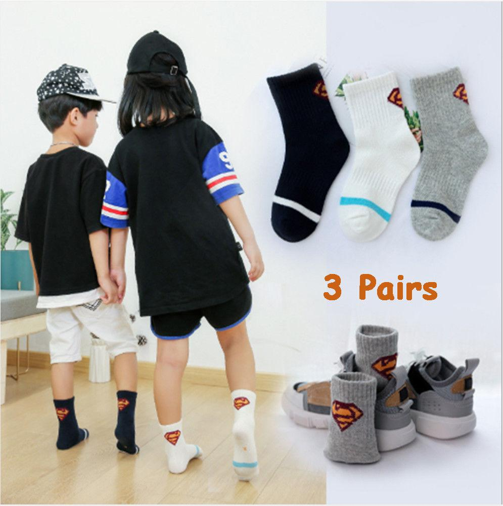 Brand New 3 Pairs Cool Girls Boys Cotton Casual Breathable Students Fashion Sports Socks 1-15Y