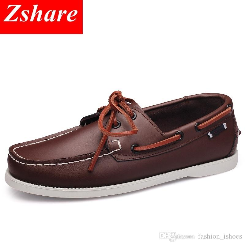 8b20aa7ed6 Genuine Leather Men Boat Shoes 2019 Brand Design Hand Sewing Slip-On Mens  Loafers Casual Driving Moccasins Business Men Shoes 45 #572029