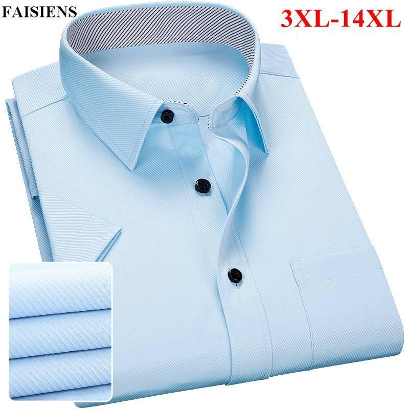 super popular a18ce ab62b FAISIENS Kurzarm Herrenhemd Große Größe 11XL 12XL 13XL 14XL Fest Blau Rosa  Weiß Schwarz Slim Fit 3XL 4XL 5XL Mens Dress Shirts