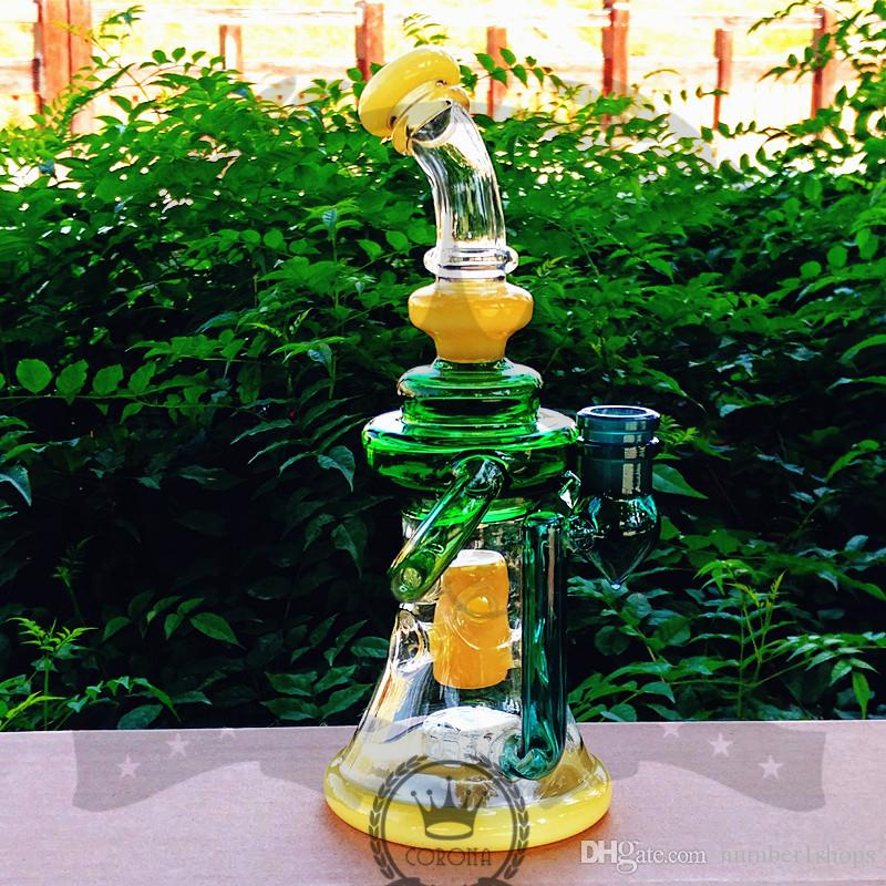 oil rigs dab Purple Recycler Dab Rig Glass Bong Oil Rigs Water Pipe with Bowl heady Bongs Vortex Klein hookah pipes gift