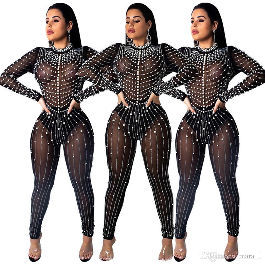 fa5b5ef01db Women Glitter Pearl Jumpsuit Sheer Rompers Long Sleeve Sequins ...