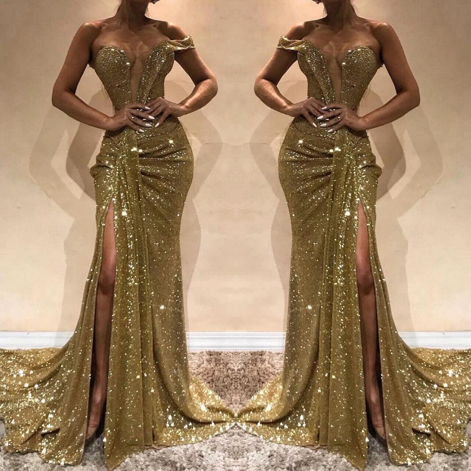 fdfefae13024 Acquista Nuovo Arrivo 2019 Blingbling Oro Paillettes Prom Dresses ...