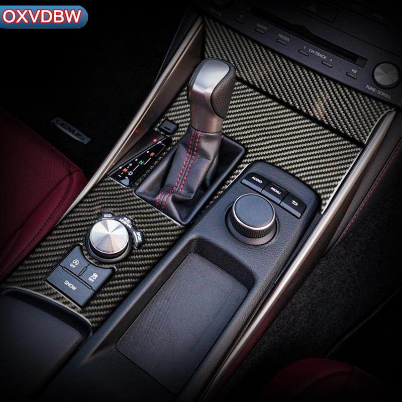 Carbon Fiber Car interior Sticker Decorative Cover Car Center Console Gear Shift Panel For LEXUS IS300H 200 250 350 Accessories 2013-2019