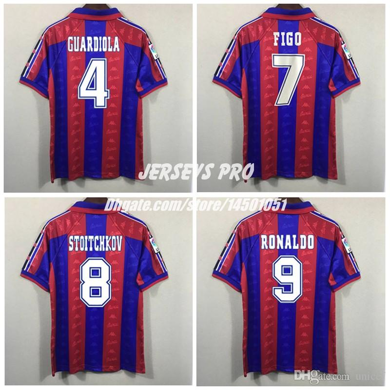 sports shoes 73633 e9197 Hristo Stoichkov Ronaldo Josep Guardiola Luis Figo Poster Giovanni Retro  Soccer Jerseys La Liga 1996 1997 Football Shirt Kit Maillot de foot
