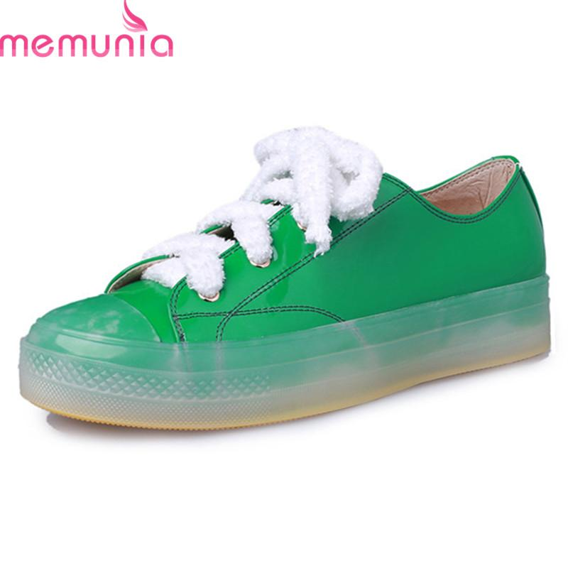 cac57bba86903 MEMUNIA 2019 New Fashion Flat Shoes Women Patent Leather Shoes Lace Up Street  Style Jelly Color Unique Summer Casual Pink Buy Shoes Online Slip On Shoes  ...