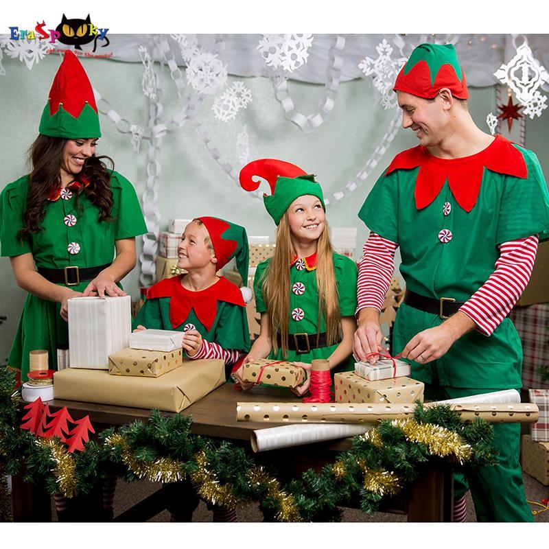 756b42edbf0c Olidays Costumes Eraspooky Christmas Elf Costumes Adult Santa Claus Cosplay  Family Matching Clothes Kids Carnival Dress Girl 2018 New Yea.