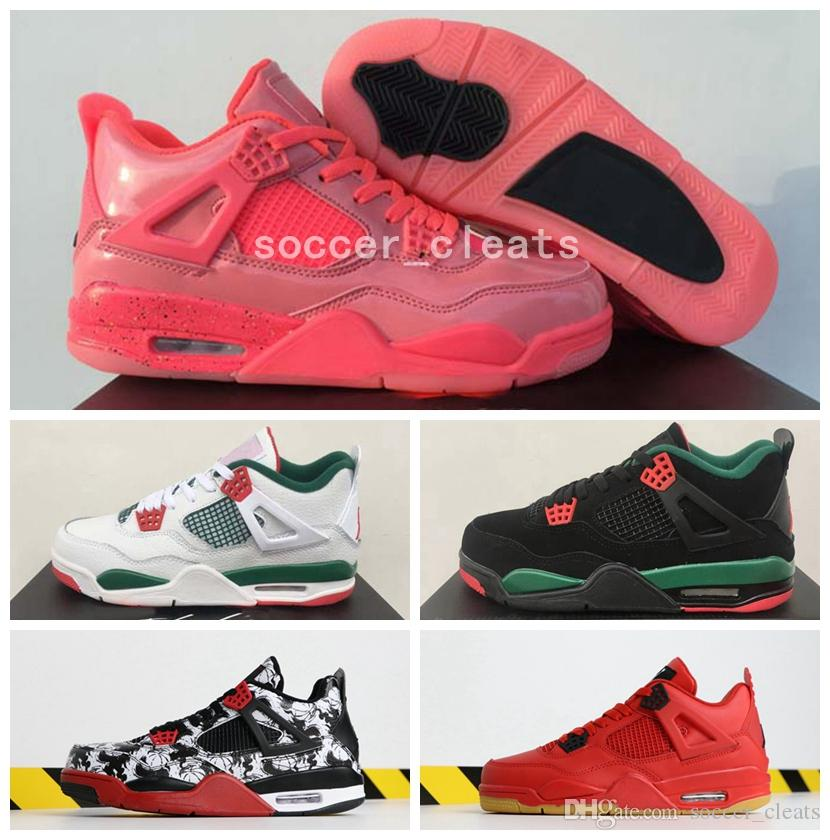 wholesale dealer 39a63 61285 2019 2019 Jumpman 4 NRG Hot Punch Mens Basketball Shoes Sneakers Designer  Black White Pizzeria 4s Tattoo Singles Day Top Quality Retro Baskets From  ...