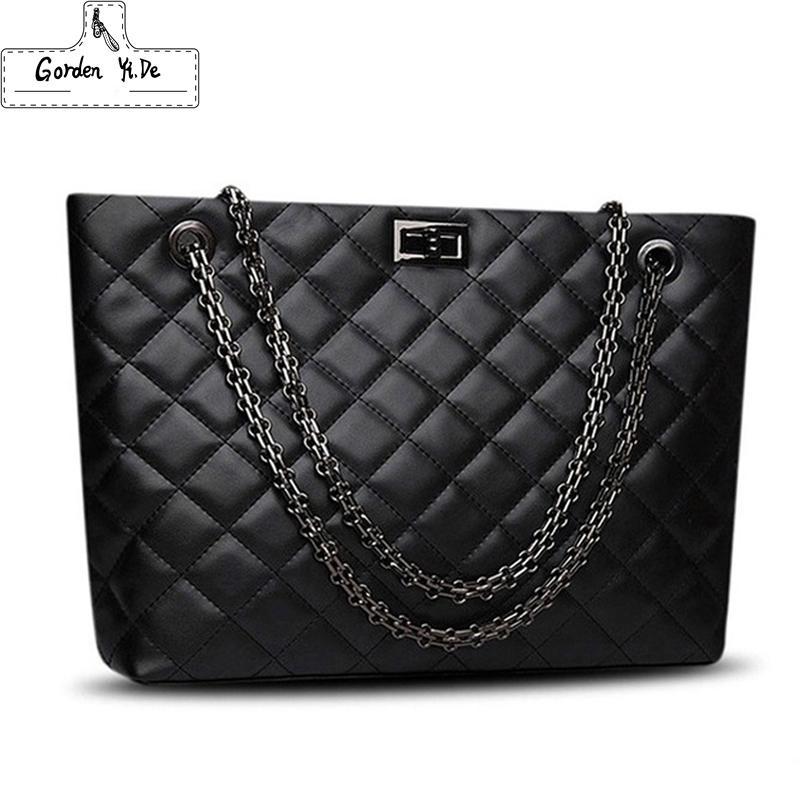 7ce3c3c521 Brand Plaid Large Tote Bags For Women 2018 Luxury Designer Female Chain  Handbags PU Leather Messenger Beach Bag Sac A Main Femme Cute Purses  Rosetti ...
