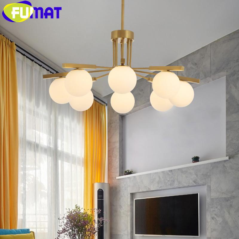 FUMAT Creative Design Glass Chandelier Modern Gold Iron Suspension