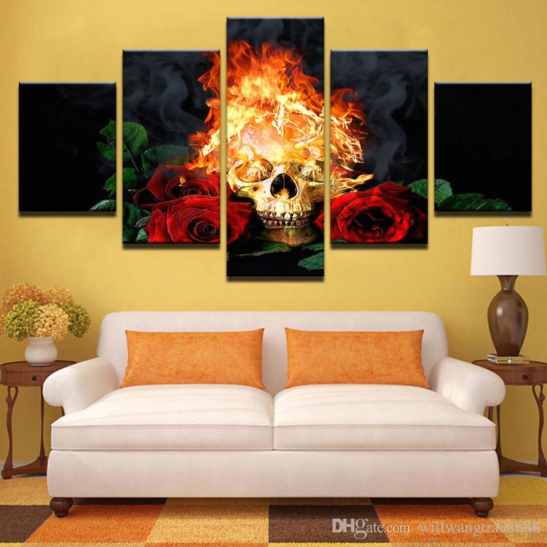 5 Pcs Combinations HD Creative characteristic Cool skull head Roses framed  Canvas Painting Wall Decoration Printed Oil Painting poster