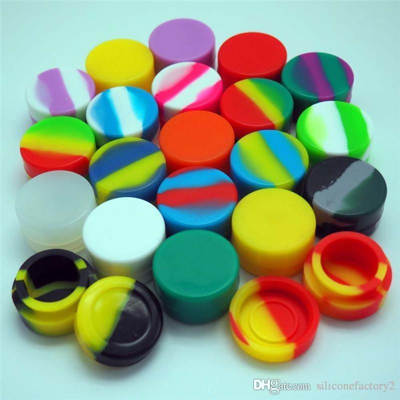 5pcs/lot 5ml mini assorted color silicone container for Dabs Round Shape Silicone Containers wax Silicone Jars