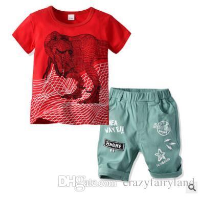 6750df49ba7e 2019 Boys Clothing Set 2019 Summer Short Sleeve Cartoon 3D Dinosaur Tops Kids  Boy Clothing Set T Shirt Shorts Pants Cotton Boys Clothes 2 6T From ...