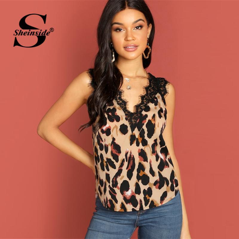 d247f3ded8 2019 Sheinside Elegant Eyelash Lace Insert Leopard Print Top Women 2019 V  Neck Casual Tops Summer Sleeveless Sexy Backless Tank From Biwanrou, ...