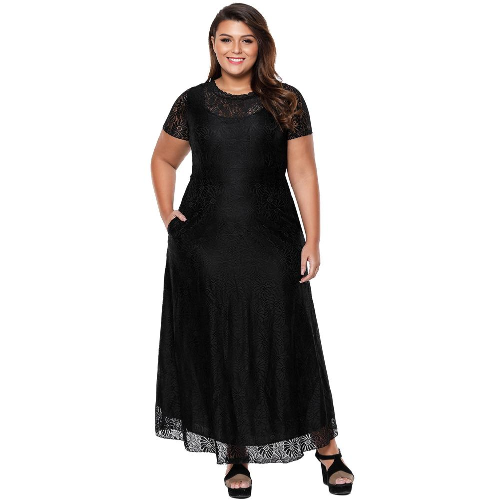 Women Plus Size Lace Maxi Dress O Neck Short Sleeve Pockets Summer ...