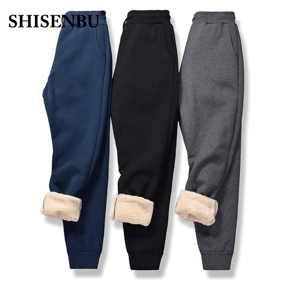 Brand Elastic waist Men's Wool Pants Outside Velvet Thick Joggers Fleece Winter Warm Pants Heavyweight Trousers Men Sweatpants