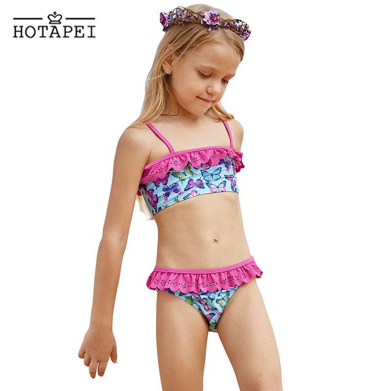 152cf039f1eb3 2019 Hotapei New Children Swimwear Butterfly Print Ruffle Girls Biquini  Bathing Suit 2019 Summer Kids Two Pieces Bikini Swimsuit 4 8Y From  Modleline, ...