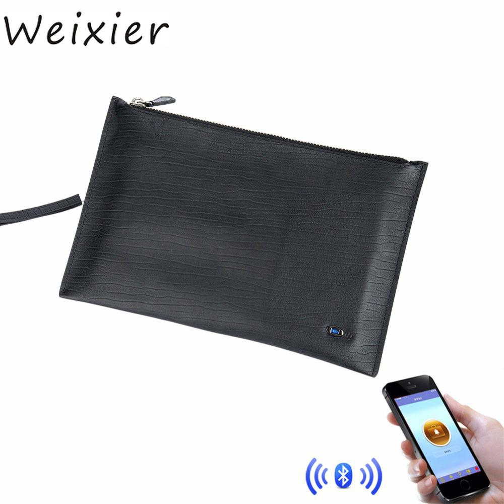 WEIXIER Smart Wallet Card Holder Classic Style Purse Male Quality Zipper Purse Anti-Thief Map Card Holders GPS Tracking QW-07