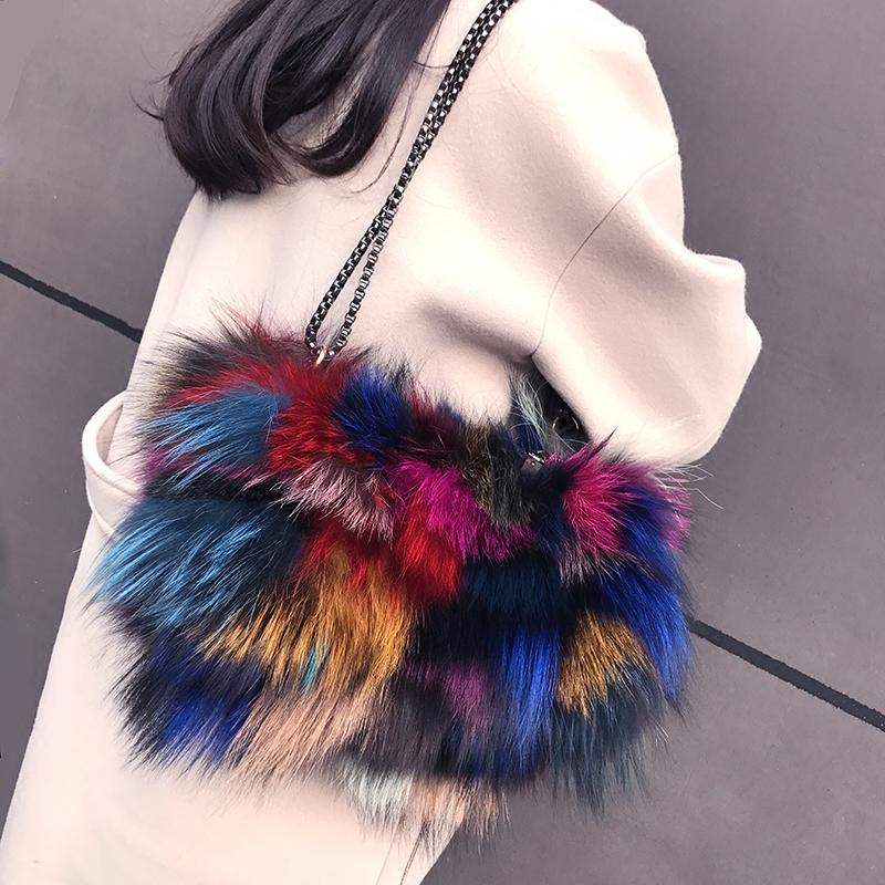 ccbc5d45d8 2018 Newest Color Block Decoration Real Silver Fox Fur Women S Handbag  Genuine Leather Bag Multicolour Fur Bags Fox Bags Clutch Bags Beach Bags  From Wiskey