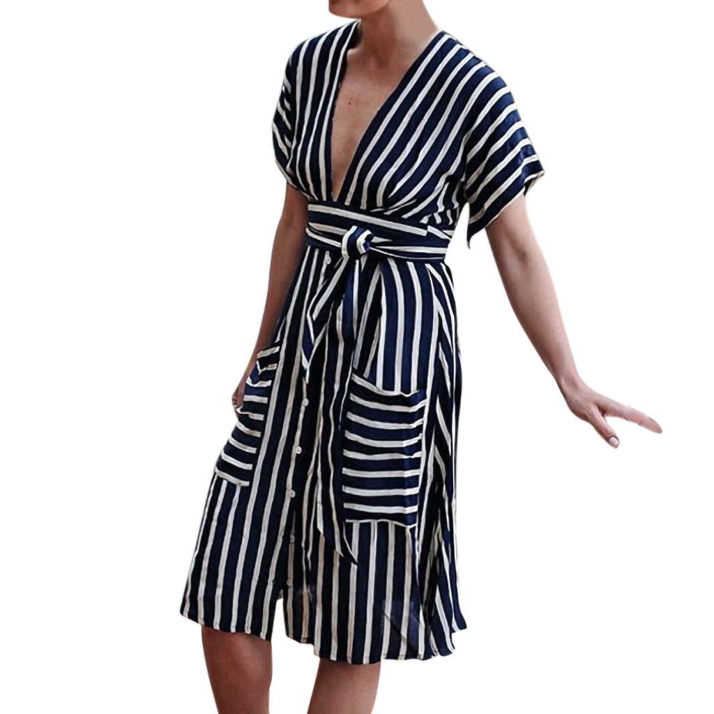 92c1a2132b294 Causal Women Pocket V Neck Short Sleeve Mini Dress Evening Party Dress With  Belt Red Black Stripe Beautiful Women Dresses Black And White Dresses  Juniors ...
