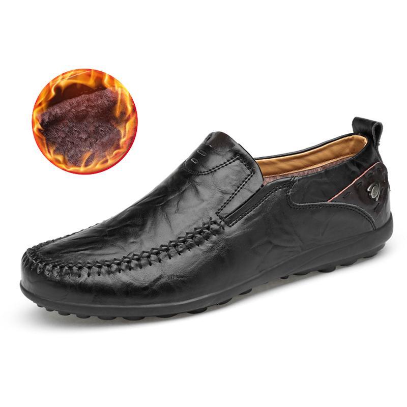 3df41808bd9 Compre Zapatos De Cuero Para Hombre Mocasines Calientes Para El Clima Frío  Mocasines De Corte Bajo Resbalón En Los Mocasines Planos Homme HH 744 A   36.6 Del ...
