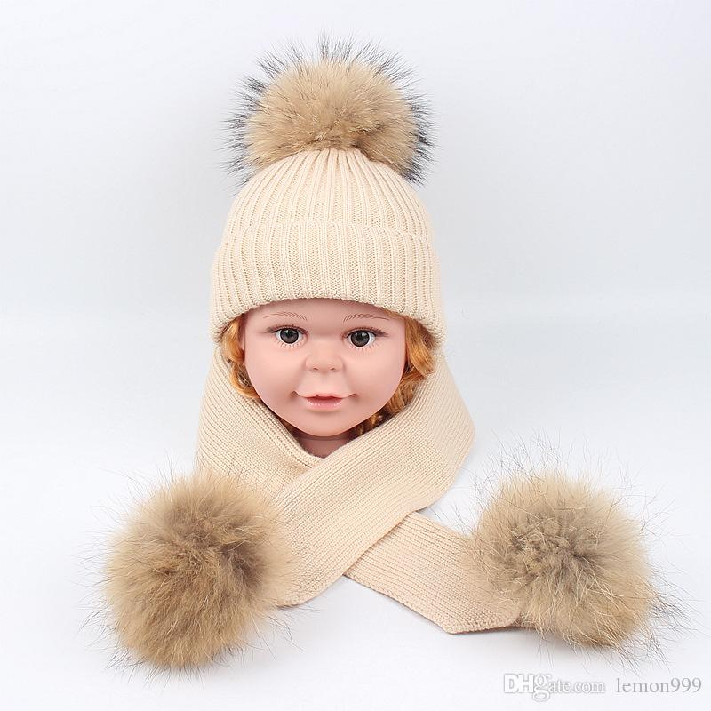 eb62185489de4 Winter Baby Girls Beanies Boy Hats Real Raccoon Knitted Hat Scarf Set With Fur  Pompom Ball Caps Children Hats Kids Warm Beanie Suits Black Beanie Crochet  ...