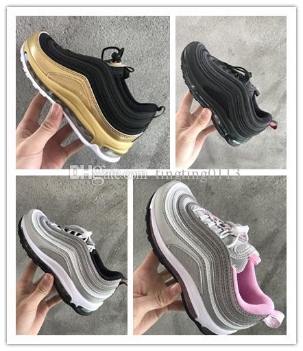 Nike air max 97 Envío gratis 2018 nuevos niños baratos Athletic Maxes hombres y mujeres 97 zapatillas de deporte de los niños zapatillas deportivas