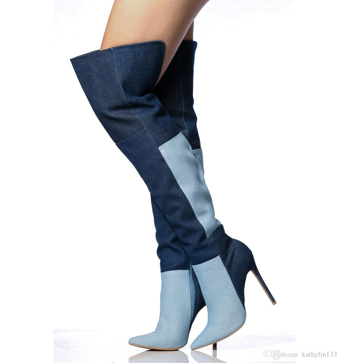 005b814026170f 2018 New Fashion Mixed Colors Denim Cloth Spring And Autumn Super High  Heels Stiletto Thigh High Boots Knee Boots Women Pointed Toe Shoes Fr Wedge  Booties ...