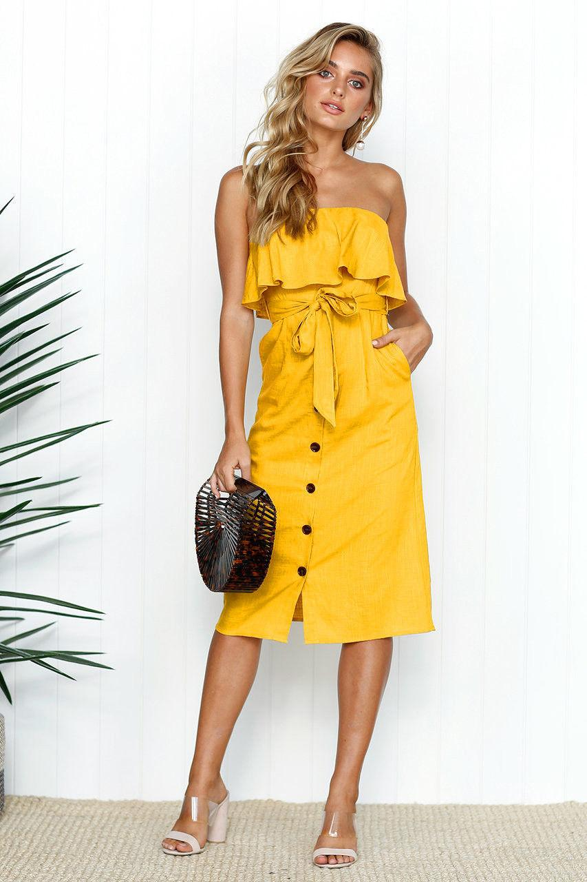 7310ee3c6695 Women Summer Sleeveless Casual Dress Strapless Button Formal Evening Party  Bohemian Beach Dress 2019 Summer Style Online with  38.84 Piece on  Jamie06 s ...