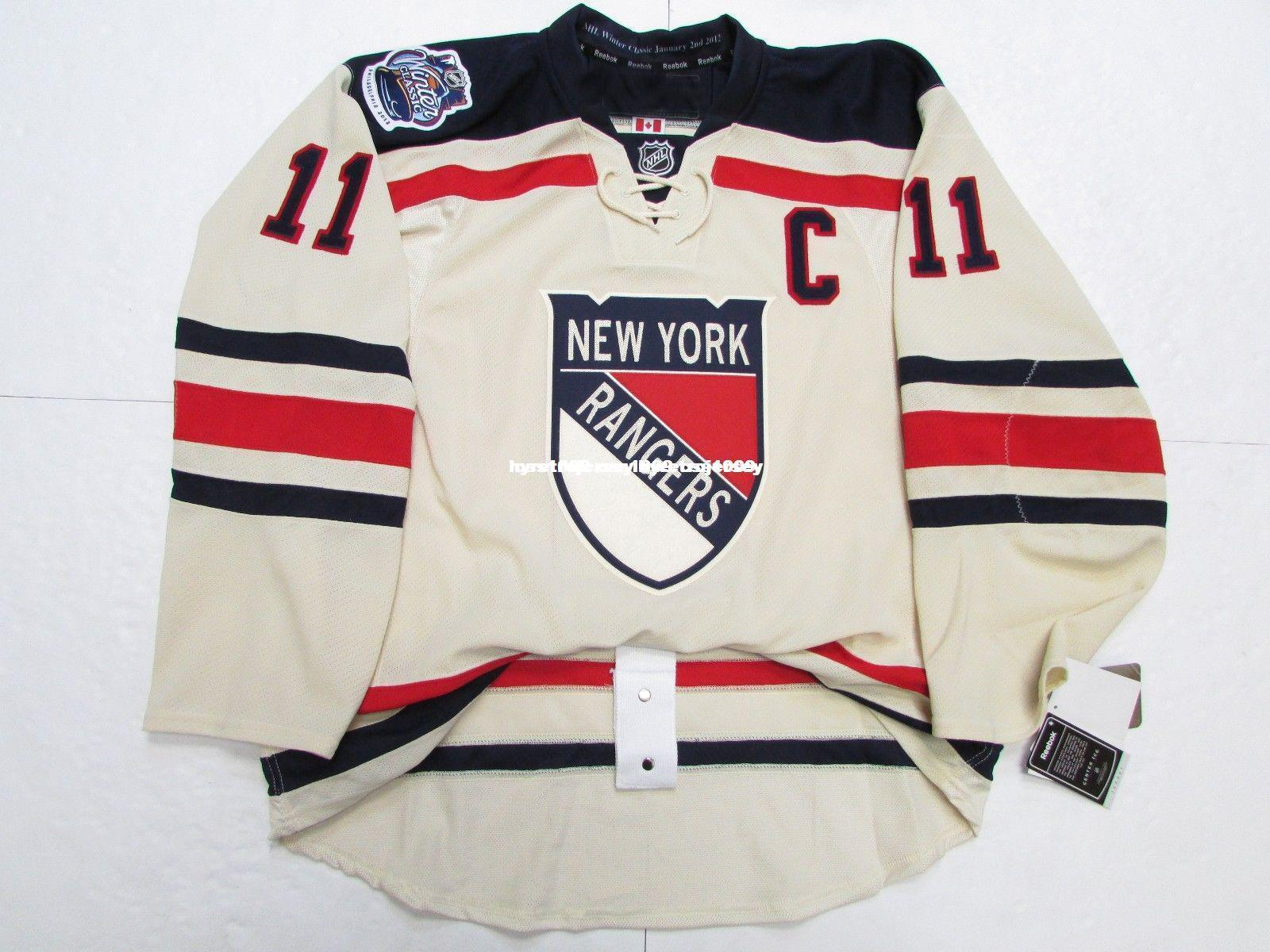 new concept 48d53 909fd Cheap custom MESSIER NEW YORK RANGERS 2012 WINTER CLASSIC JERSEY stitch add  any number any name Mens Hockey Jersey GOALIE CUT 5XL