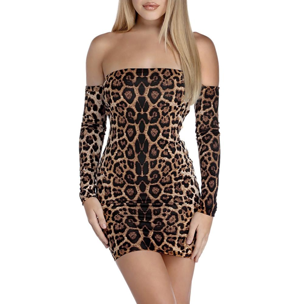 03f696234469 Sexy Style Women's Leopard Print Deep One-Sleeve Long Sleeve Mini Dress For  Ladies 2018 Spring,Autumn,Winter #by
