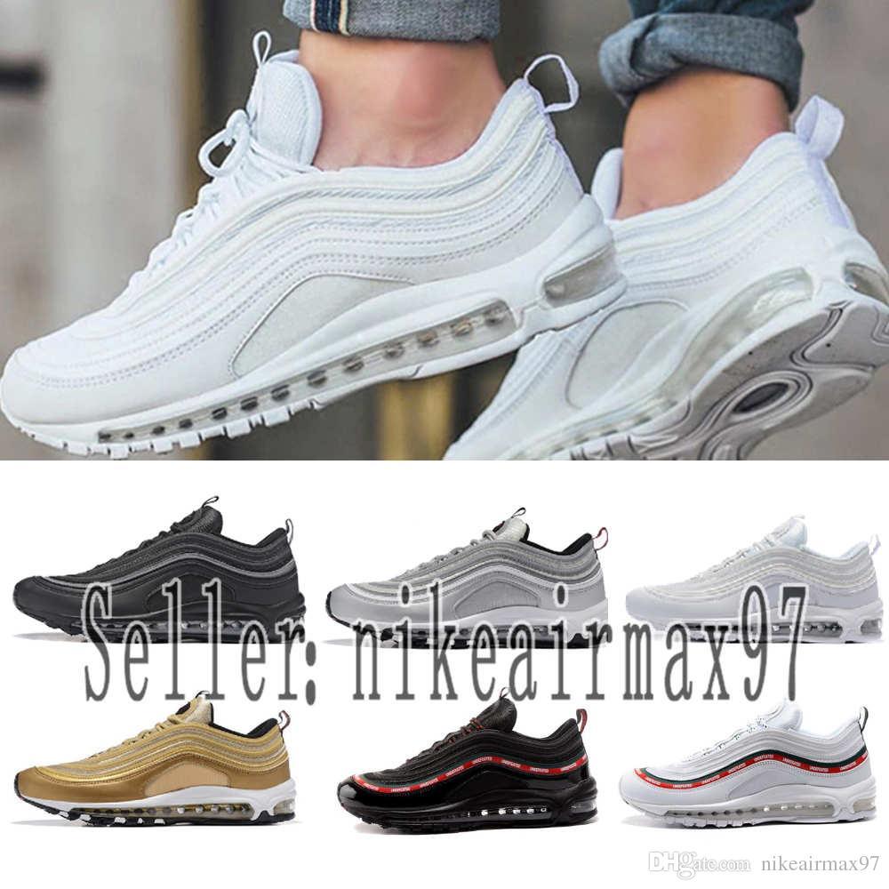 2019 Designer shoes men women Nike 97 AIR MAX Hommes Chaussures De Course Coussin Hommes Femmes Tripel Blanc Noir Rouge Métallisé Or Mode Sport